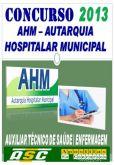Apostila AHM Autarquia Hosp Mun SP Aux Tec Saude Enfermagem
